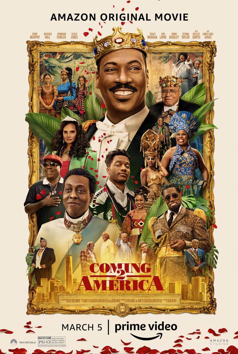 Watching #Coming2America!!! #EddieMurphy #ArsenioHall #VanessaBellCalloway #EnVogue #JamesEarlJones #SaltNPepa #GladysKnight #WesleySnipes #ShariHeadley #LeslieJones