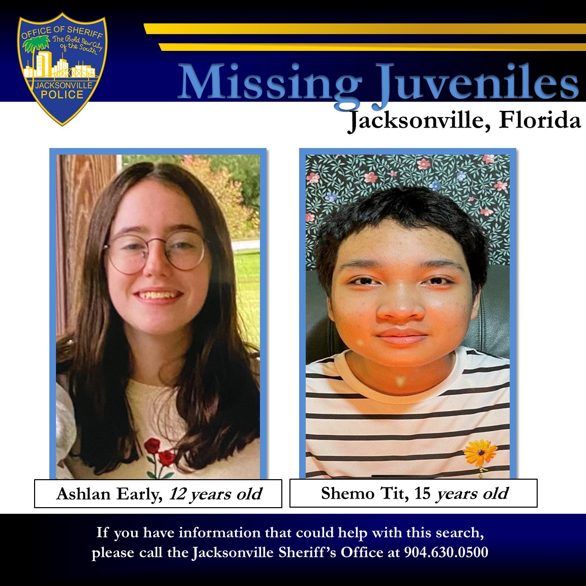 #JSO seeks missing juveniles - Ashlan Early (W/F, 53, 120, blue eyes, brown hair) and Shemo Tit (A/M, 50, 130, brown eyes, black hair). The two were last seen together on 3.6.21 at around 6:15 pm near I10 and Lane Avenue. Anyone having info is asked to call 904-630-0500.