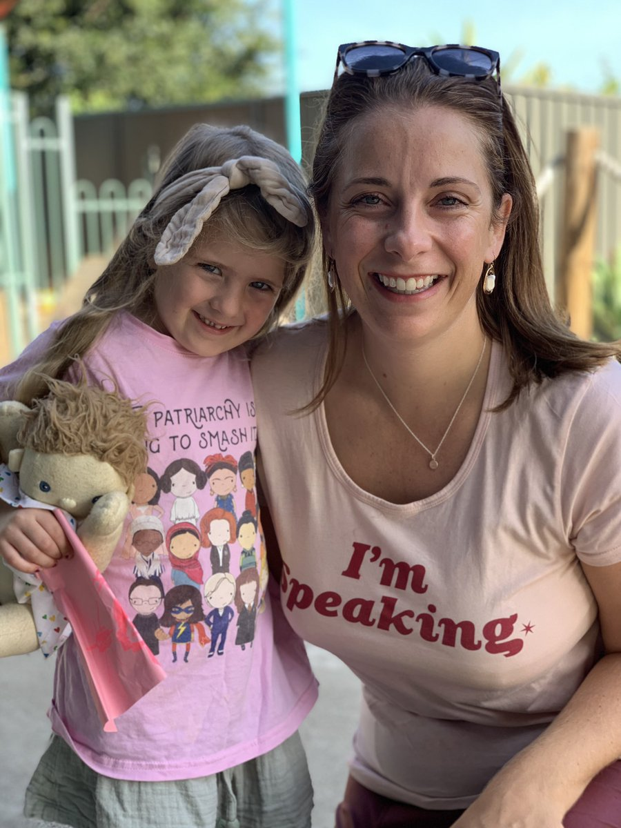 """Celeste's shirt says """"the patriarchy isn't going to smash itself"""". Mine is VP @KamalaHarris' """"I'm speaking"""". This is #IWD 2021. https://t.co/Rqa6N1tdxc"""