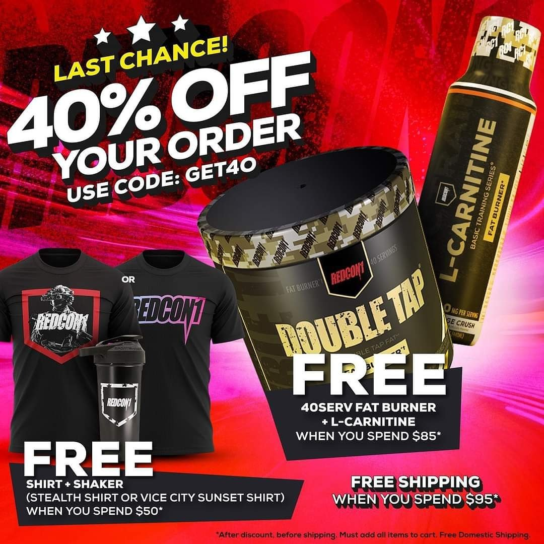 LAST CHANCE!!! USE CODE: GET40 for 40% OFF at    #Redcon1 #lastchance #weekend #deal #sale #coupon #discount #gym #fitness #supplements #apparel #ebfitness20
