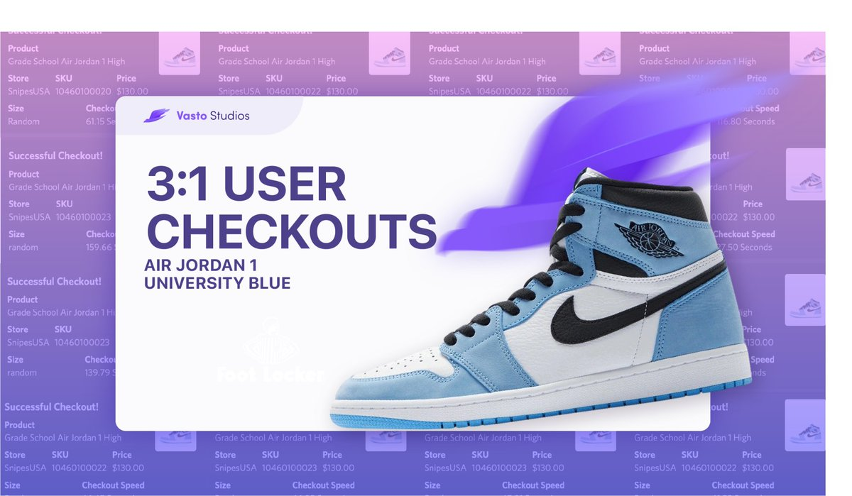 Vasto dominated the SnipesUSA University Blue release securing an average of 3 checkouts for every running user.🏅  Follow, Retweet, & Tag a friend for a chance to receive a copy! 🚀