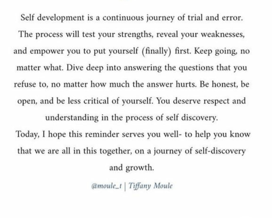 Self development is a continuous journey of trial and error.. #inspiring #SundayMotivation #ThinkBIGSundayWithMarsha #QuotestoUplifttheSpirit #quotes #quotestoliveby #quotestoinspire #startup #success #LessonsofLife #quote #love #Today #leadership #SundayThoughts #SundayBrunch