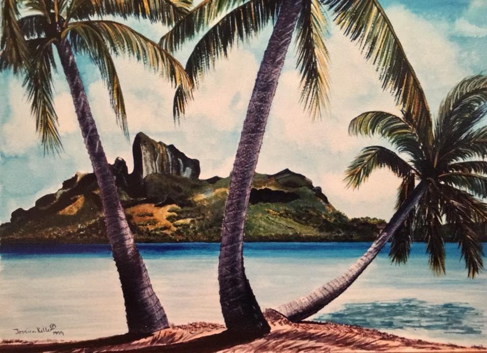 "Available for purchase. ""Bora Bora"", watercolor and colored pencil on Bristol paper.    #art #artwork #seascape #borabora #Tahiti #polynesian #fresnoartist #artinfresno #palmtrees #etsy #sereneartistrybyjessicakeller #boraborabeach"