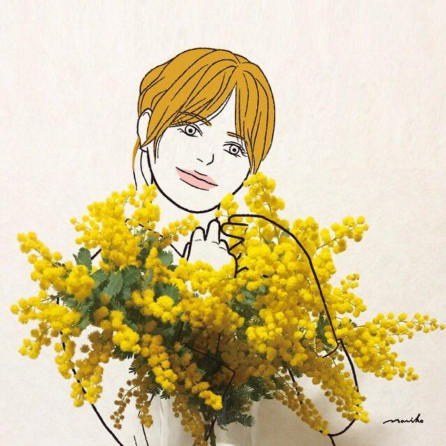 3月8日はミモザの日 #まだまだステイホーム #ミモザの日 #mimosa   #illustration #artwork #drawing  #イラスト #アート #アートワーク  #線画 #お絵描き #일러스트  #イラスト好きな人と繋がりたい
