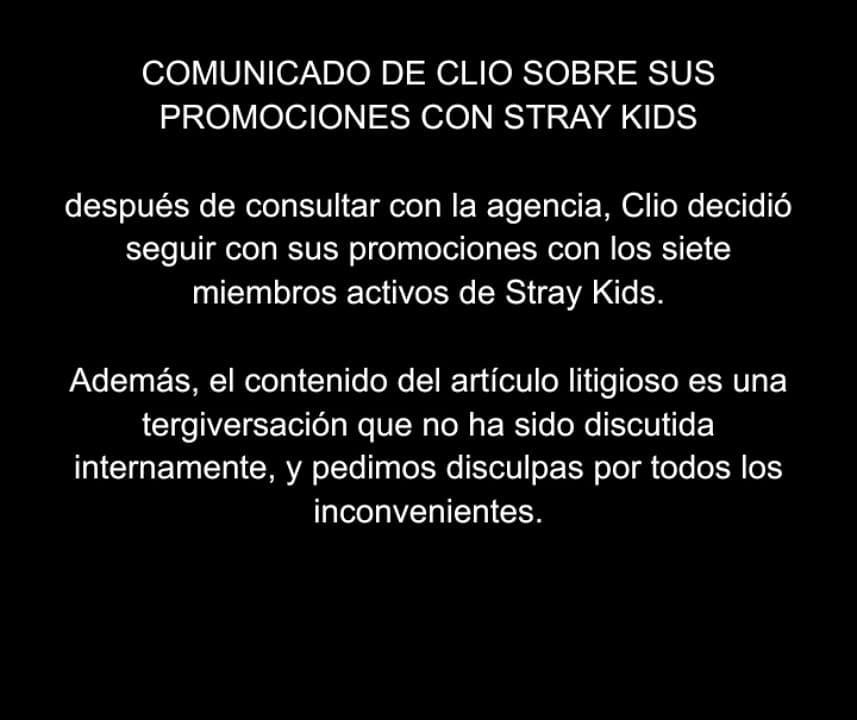 [ TRAD | 210309 ]  Comunicado de @official_CLIO con respecto a sus promociones con @Stray_Kids   compartido por binlight 🐷🐰 #StrayKids #스트레이키즈