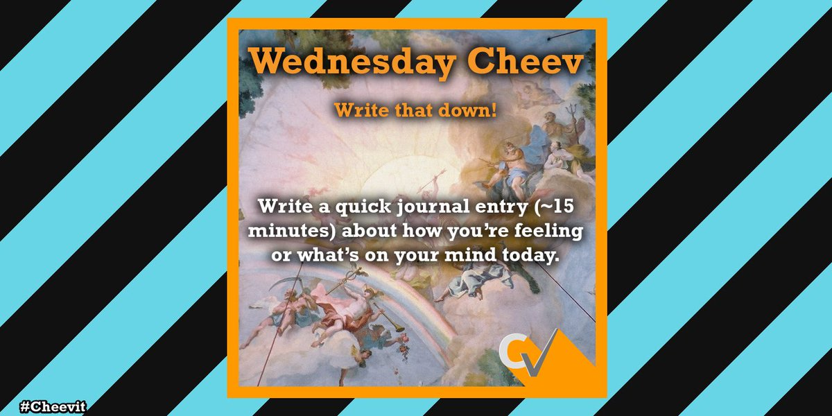 Write that down!: Write a quick journal entry (~15 minutes) about how you're feeling or what's on your mind today. How will you Cheev it today? #WednesdayMotivation #WriteThatDownCheev #CreativeOutlet #Cheevit