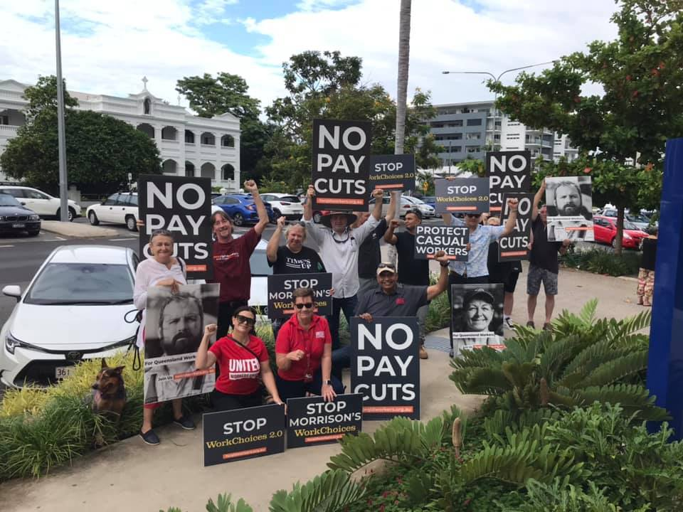 Treasurer Frydenberg was in Cairns, QLD this morning for breakfast with the business community. UWU members and the union movement were there waiting. Workers are fighting back against the proposed new laws that will reduce job security & cut wages. #auspol #ausunions