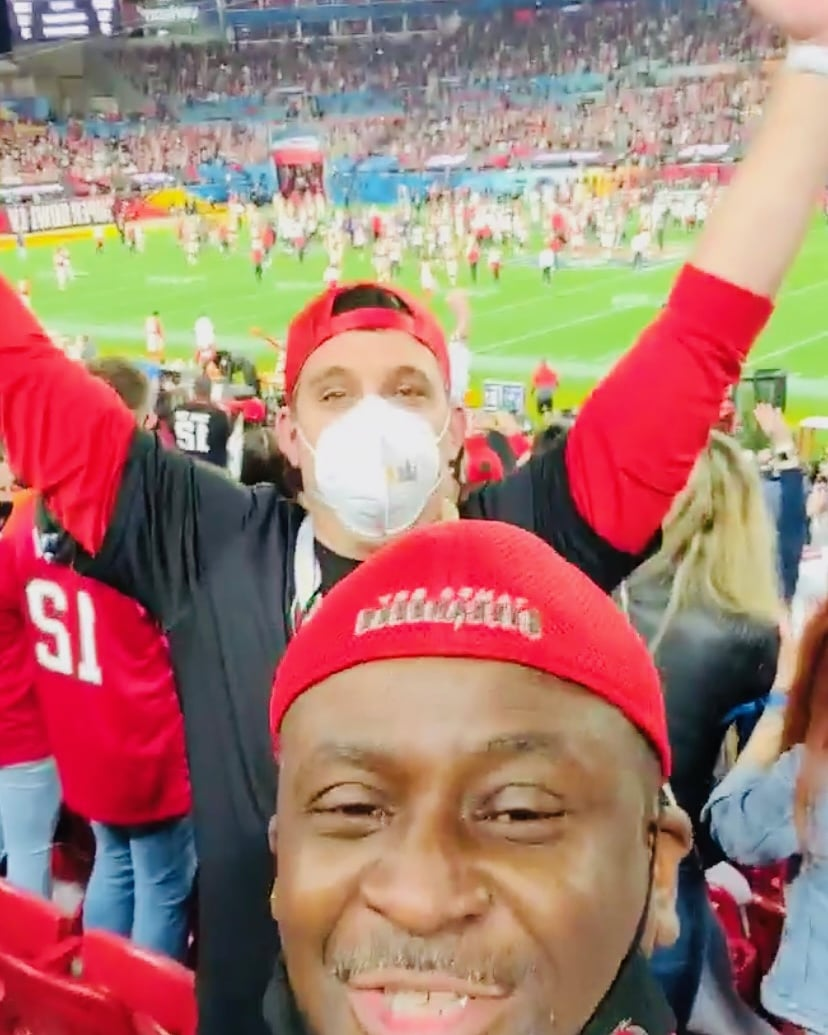 One month ago around this time, I was livin' a night I will never forget! It still hard to believe!!!  #SuperBowlLV  #GoBucs 🏆 #WeDat ✌🏾