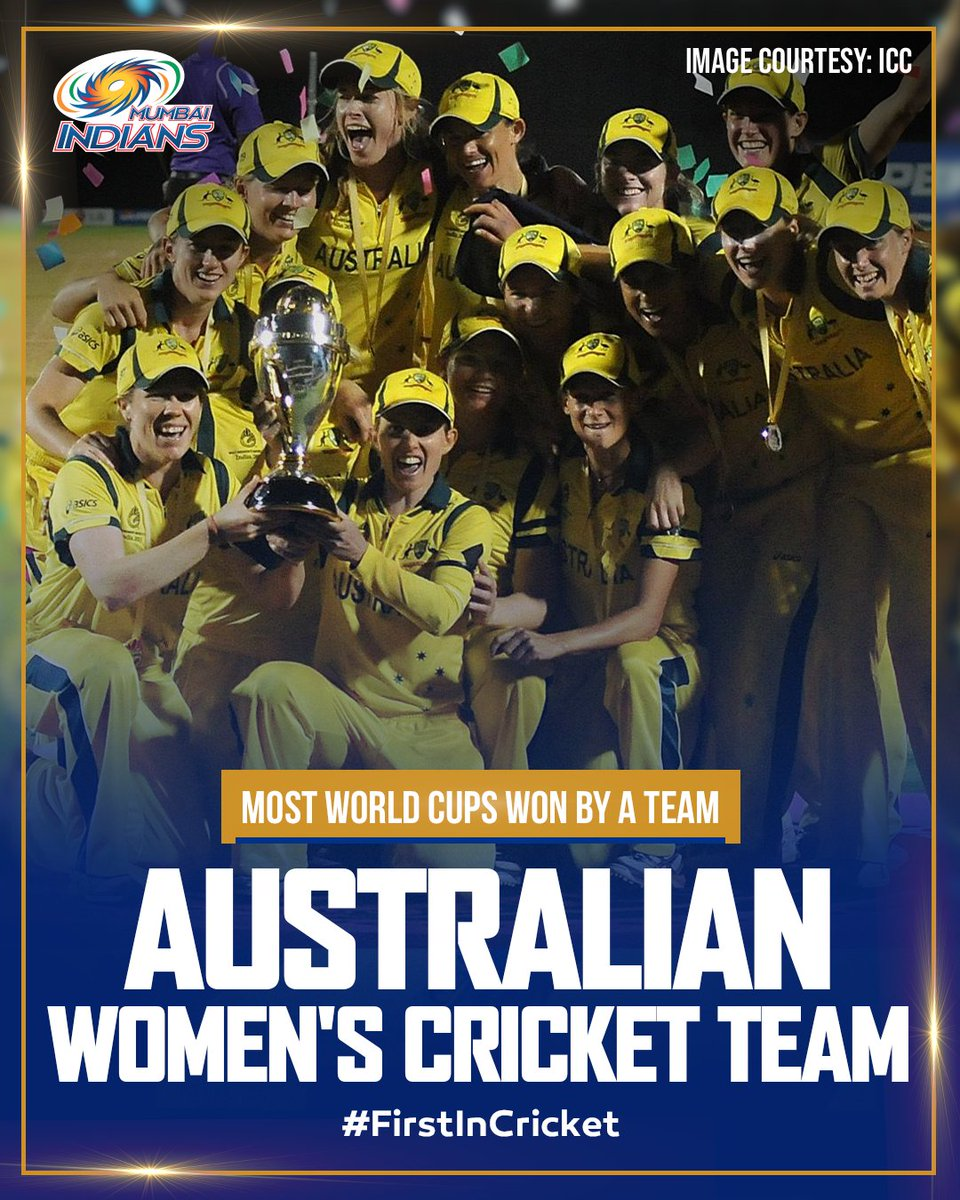 The most successful International side in cricketing history 🏆  Australia 𝖬̶𝖾̶𝗇̶'̶𝗌̶ Women's Cricket Team 🇦🇺  #OneFamily #MumbaiIndians #InternationalWomensDay @AusWomenCricket @ICC