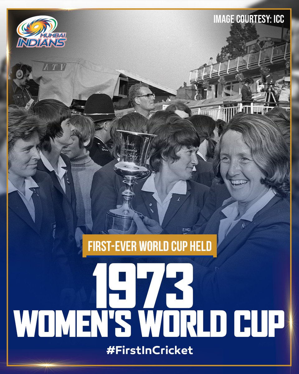 First of its kind, it was held 2️⃣ years before the first limited overs Men's World Cup 🏟️  It was won by the hosts, England 🏴󠁧󠁢󠁥󠁮󠁧󠁿  #OneFamily #MumbaiIndians #FirstInCricket #InternationalWomensDay @ICC