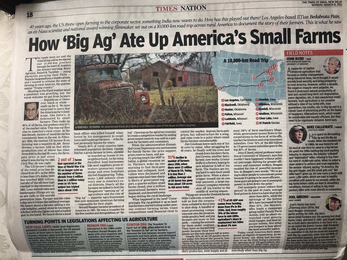 What did corporatisation of agriculture do to US farmers, similar to what Indian govt proposes to do now. Do read