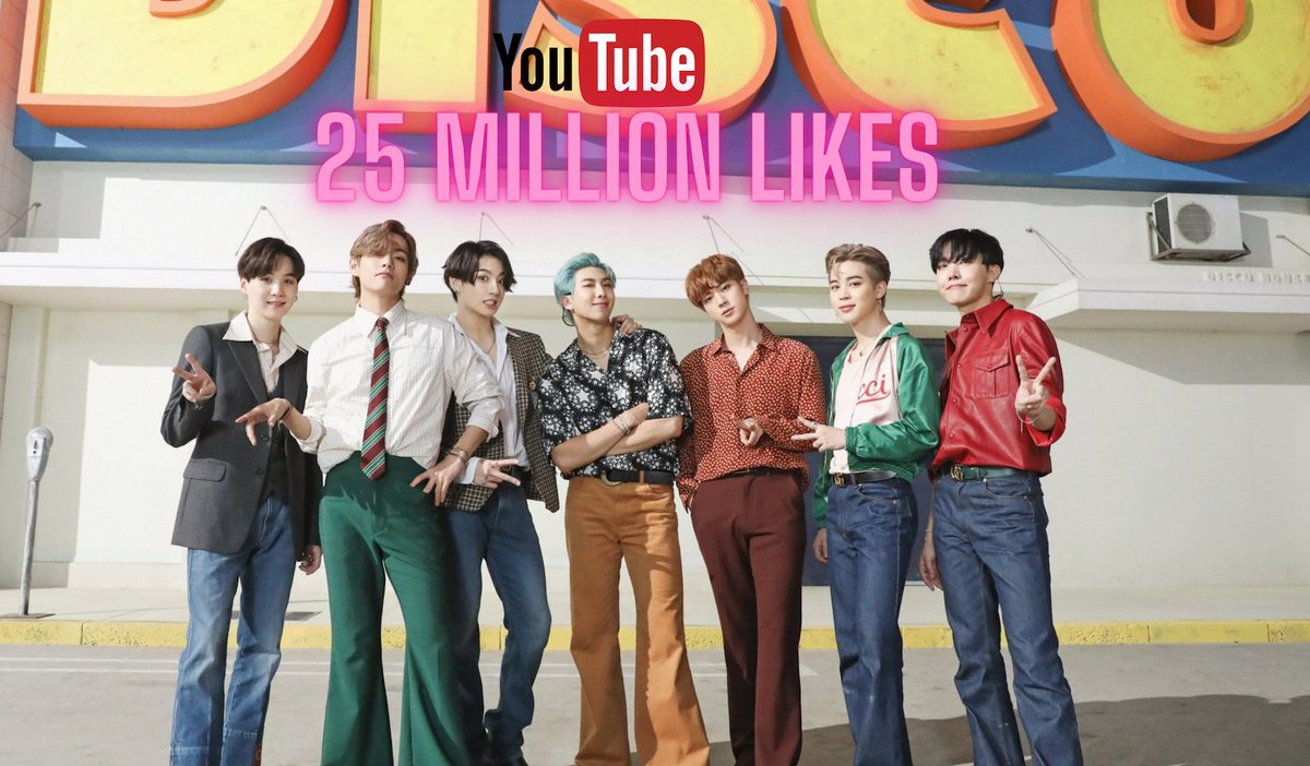 """.@BTS_twt's """"Dynamite"""" has now surpassed 25 MILLION likes on YouTube, becoming the fastest music video in history to do so! (6.5 months)"""