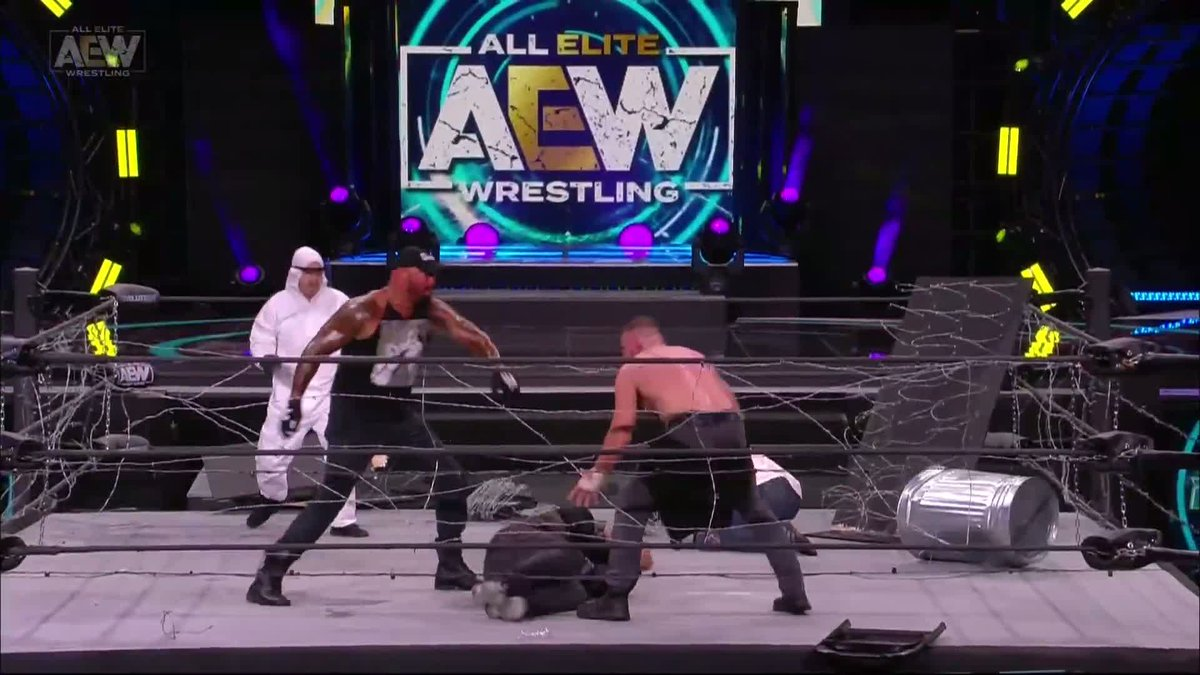 An exploding barbed wire bat to the face of @JonMoxley! Order #AEWRevolution now on all major providers, @brlive, and @FiteTV (international fans)
