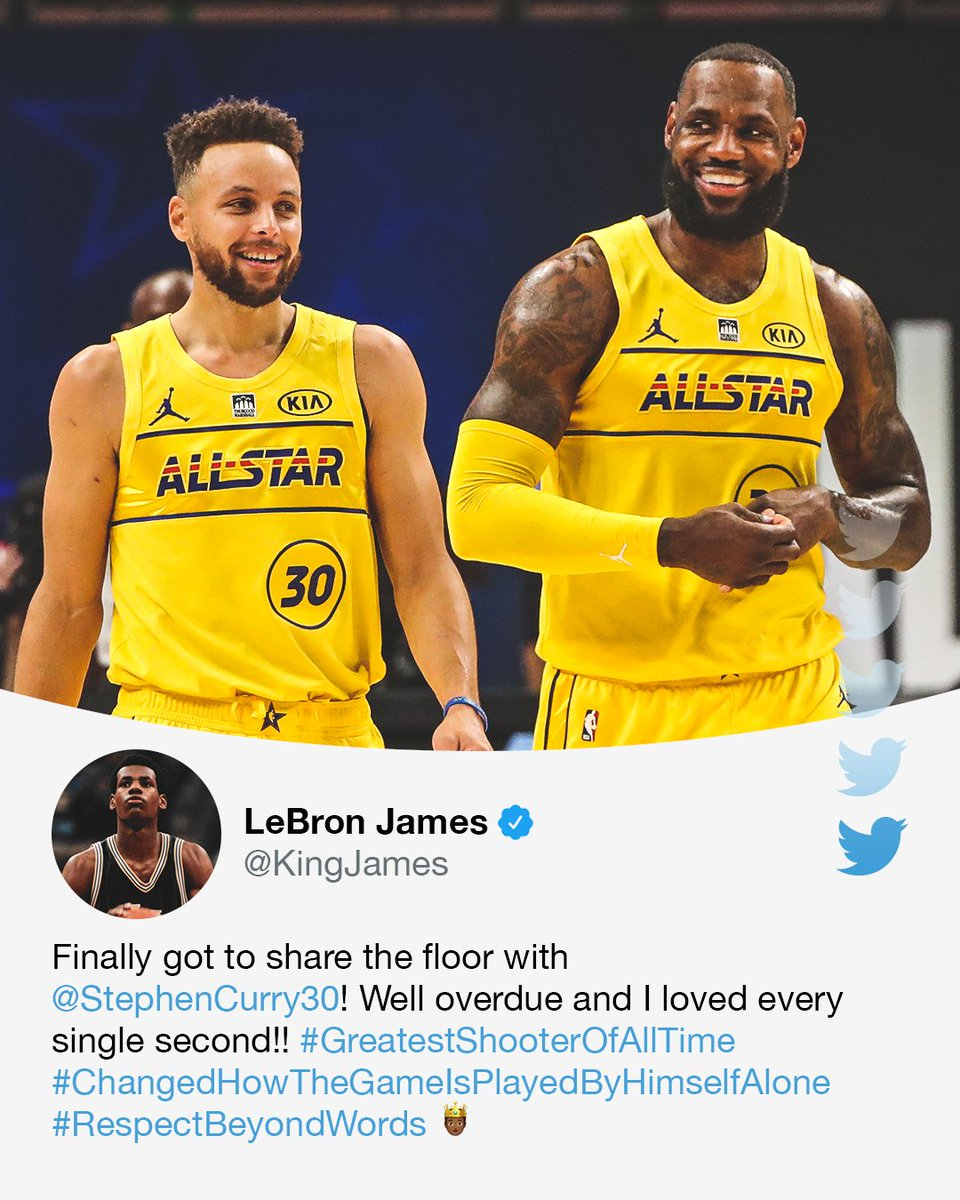 LeBron couldn't get enough of playing with Steph at #NBAAllStar