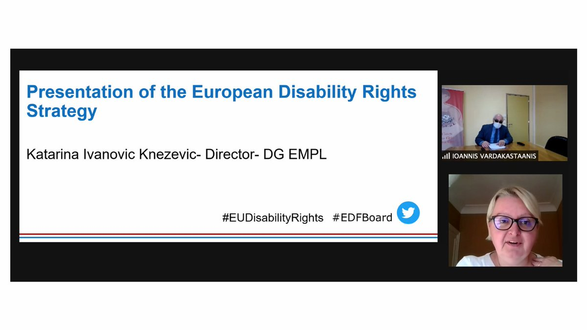 #EDFBoard welcomes @katarinaik Director for Social Affairs, DG EMPL @EU_Commission  Now discussing the new #EUDisabilityRights Strategy 2021 - 2030 and its work priorities areas. https://t.co/yPWOD7wIUW