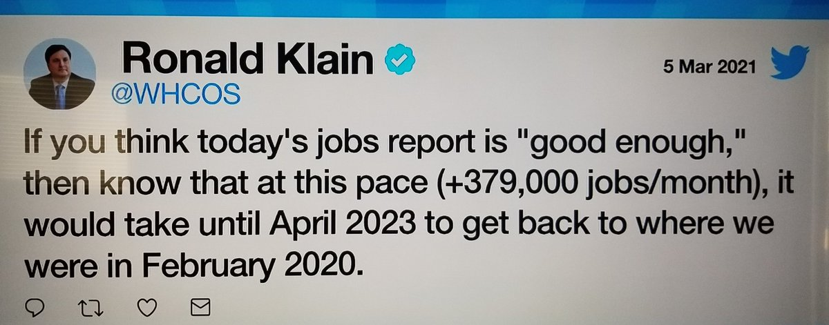 Jobs report is TERRIBLE! Biden don't know what he's doing! What a looser! Two things will make economy work & grow! 1)shits in arms & 2)money in bank accounts! Where's the Stimulus? #FridayVibes #JobsReport #fridaymorning #FridayMotivation #FridayThoughts