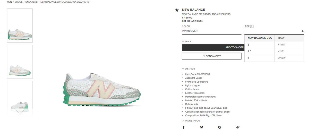 Few sizes restocked: New Balance x Casablanca 327 via LVR