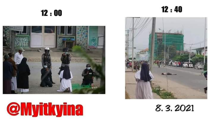 We only have us. Only we can keep fighting and took down those inhuman terrorists. And don't even believe the terrorists for a second. They are not HUMAN. #WhatsHappeningInMyanmar #Mar8Coup  This sister is really brave and stood for the citizen. #InternationalWomensDay