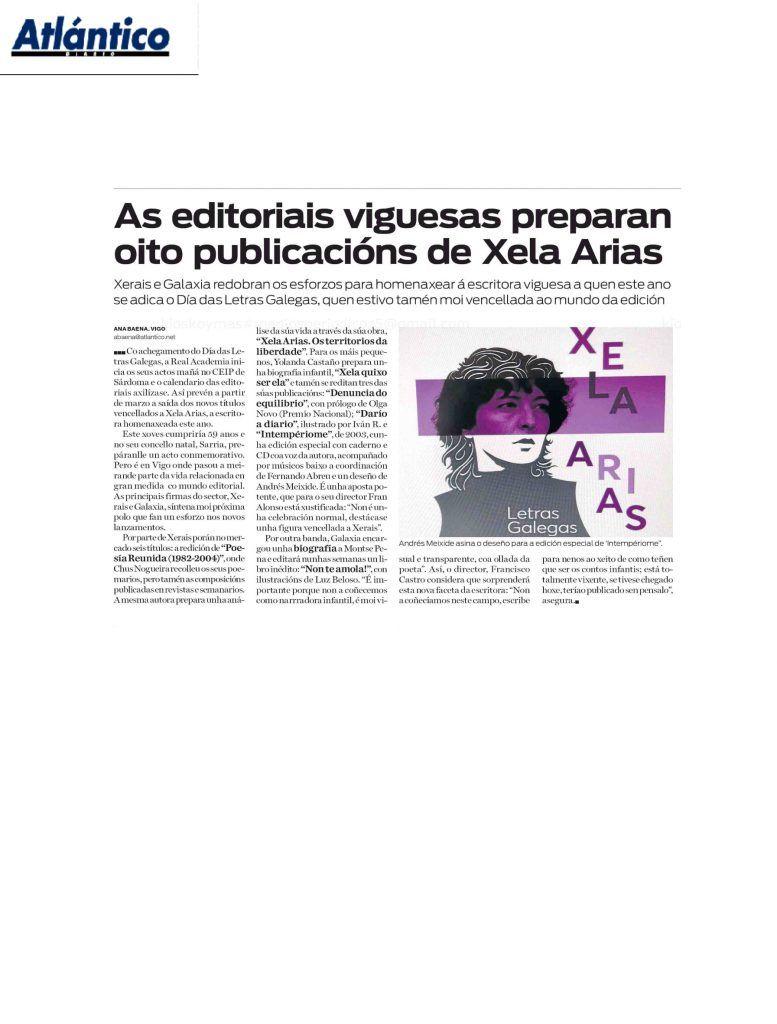 """Xerais on Twitter: """"Xerais porá no mercado seis títulos para homenaxear á  escritora viguesa Xela Arias. Anotación no xornal «Atlántico Diario»  #PoesíaReunidaXelaArias https://t.co/ugAahew3fG… https://t.co/01l6Gc9yFc"""""""