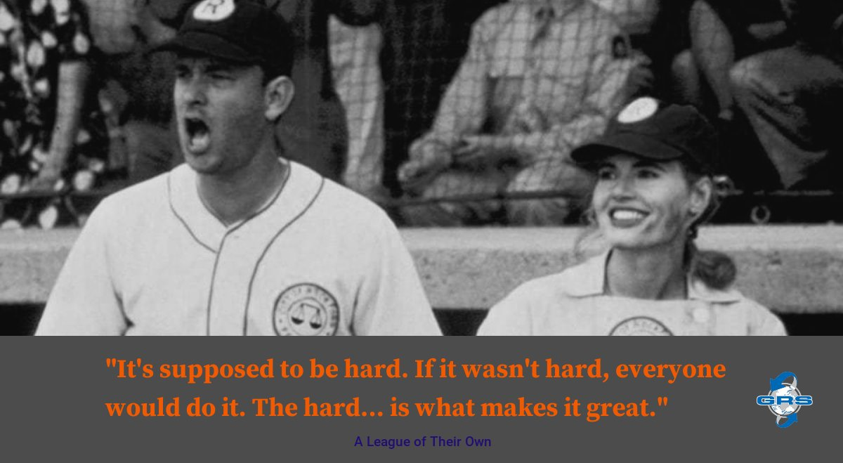 "Thanks to GRS Beast, Heather Goldberg for this morning's #MondayMotivation from the movie ""A League of Their Own."" The hard is what makes it great...there are no shortcuts to success! #getafterit #successes #HardWorkPaysOff"