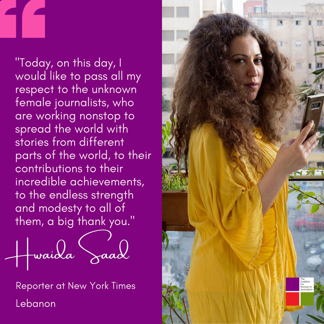 """From #Lebanon we are joined by the voice of @hwaida_saad, who has a heartwarming wish for everyone. """"I would like to pass all my respect to the unknown female journalists, who are working nonstop to spread the world with stories from different parts of the world..."""""""
