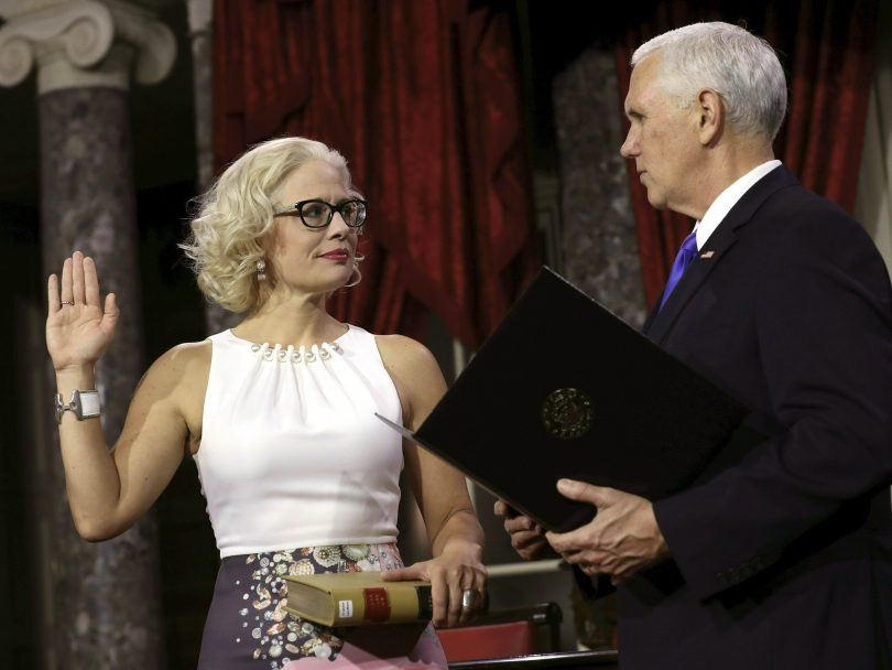 I'm trying to remember the last time I heard anything about Kyrsten Sinema, and it was when she was sworn in to the Senate. At the time, it was considered a victory: she's openly bi, & Pence had to swear her in.  Live by the smirk, die by the smirk.