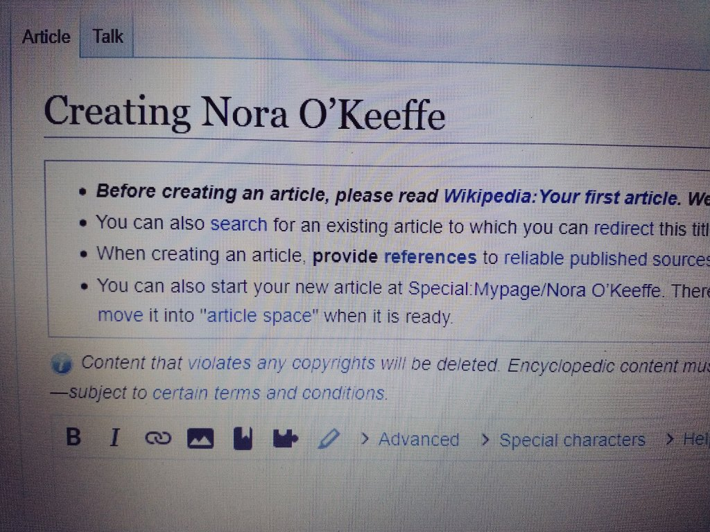 Creating Nora O'Keeffe - heading on Wikipedia article creation page