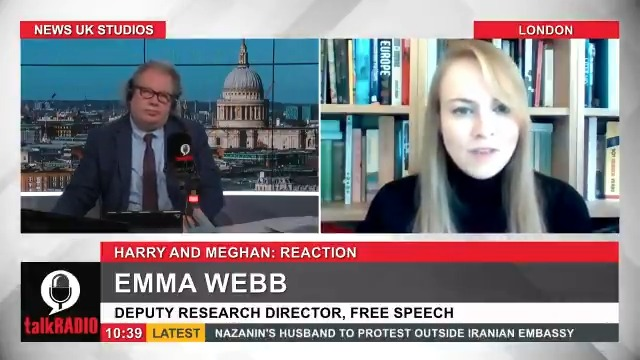 """Emma Webb from the Free Speech Union compares Harry and Meghan to the Queen after their explosive interview with Oprah. """"It's a clash between a selfless commitment to duty versus this narcissistic, self-centred, victimhood approach to life."""" @Iromg 