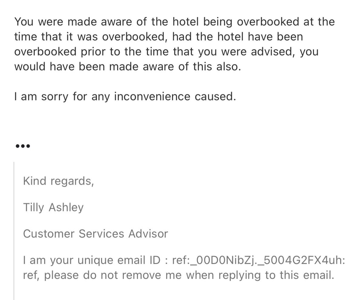 @TravelodgeUK We seem to be getting no where in this conversation to resolve the issue. For my room to be booked in the AM and then removed by the evening - this means you gave up my room to someone else. Your colleague says I should pay attention to T&C more clearly before booking. #REFUND