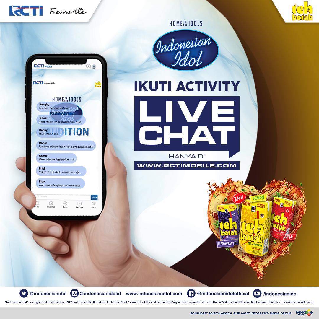 Guys! Biar makin seru nonton Indonesian Idol Kamu juga bisa lho kasih komentar dan dukung peformance kontestan melalui livechat di  dan biar makin seru enaknya sambil minum Teh Kotak. #IdolxTehKotak