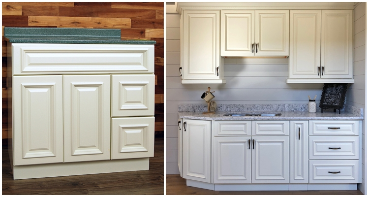 Beautiful Nantucket Linen cabinetry is available for bathroom or kitchen. Traditional raised panel door style, but this cabinetry has a modern feel.   #kitchenremodel #bathremodel #kitchencabinets #bathvanity #homeimprovement #remodel #home #buildingmaterials #AMaxTValueStore