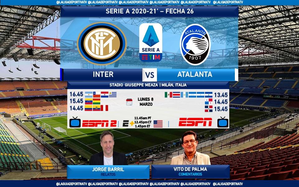 #SerieA 🇮🇹 #Inter v #Atalanta 🎙Relatos: @Jorge_BarriL  🎙Comentarios: @vitodepalma  🖥 #ESPN2 Sur   #ESPN Norte 🖥💻📲 #ESPNPlus [Solo 🇺🇲] 🤳 #SerieAxESPN - #InterAtalanta  🔃❤