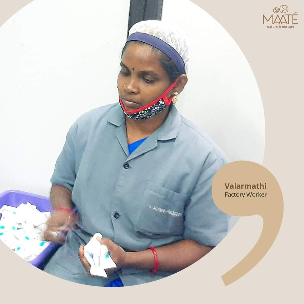 Valarmathi handles the processes at the Madurai factory & feels happy, proud of her association. MAATÉ makes natural range of products for little babies. Safe, exactly like mothers want for their little ones.  #internationalwomensday #womensday #wondersofnature #womenbehindMAATE
