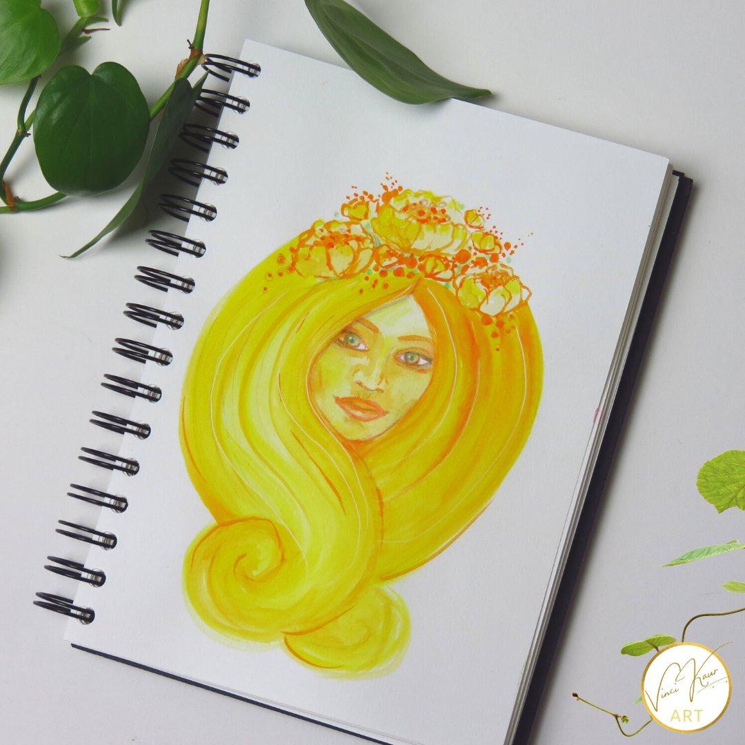 YELLOW  #Artismypilgrimage #instagood #nature #srtistsoninstagram #drawings #artsy #artlovers #watercolorpainting #handmade #illustrator #sketching #paintingoftheday #VinciKaurArt #Project365