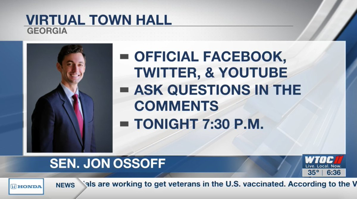 TODAY: Senator @ossoff is hosting a virtual town hall to discuss COVID-19 and the American Rescue Plan. #GAPol  Tune in and ask your questions: FACEBOOK:  TWITTER:  YOUTUBE: