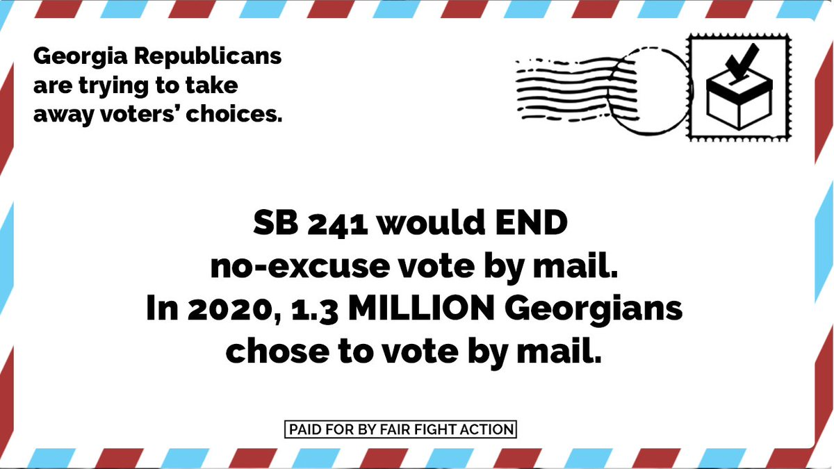 THREAD: Today, Georgia's GOP-led Senate will vote on #SB241, which would END no-excuse vote by mail. In 2020 alone, over 1.3 MILLION Georgians chose to vote by mail - now, in response to historic turnout, Republicans are trying to restrict OUR voting access. #gapol