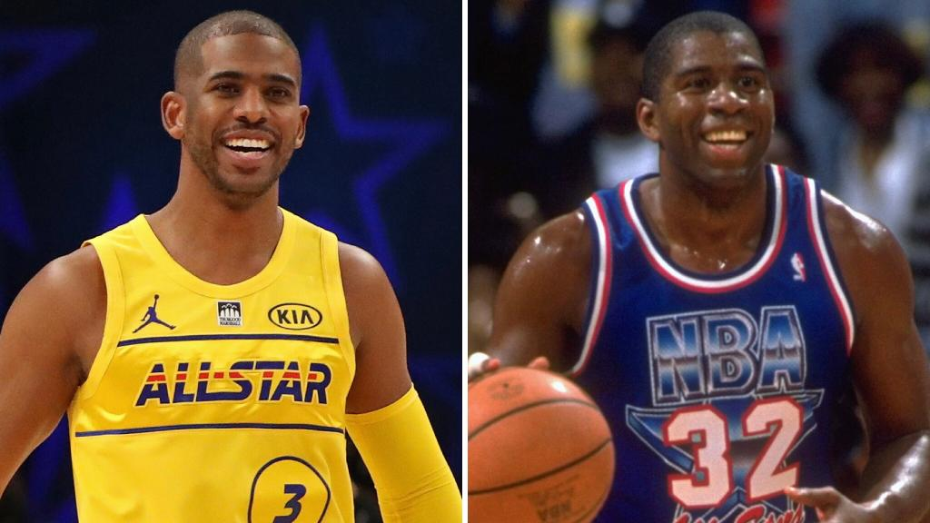 Chris Paul passed Magic Johnson for the most assists in #NBAAllStar Game history ✨  CP3: 128 Ast Magic: 127 Ast