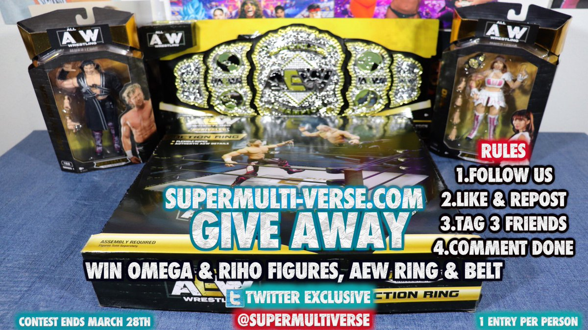 We're Giving Away An AEW Figure set w/ Omega, Riho and an AEW Ring and Belt!  Rules to Participate 1.Follow Us 2.Repost this Post 3.Tag 3 Friends 4.Comment Done  Ends March 28th  USA ONLY!  #AEW #AEWRevolution #AEWUnrivaled #AllEliteWrestling #KennyOmega #AEWDark