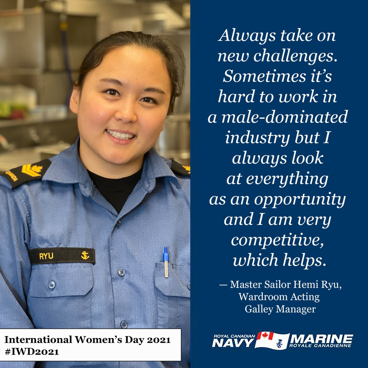 As we mark #InternationalWomensDay, we're highlighting some of the amazing women on CFB Esquimalt's Defence Team. For more on Master Sailor Hemi Ryu, check out the latest issue of @Lookout_news. #IWD2021 #CFBEsqSupports!