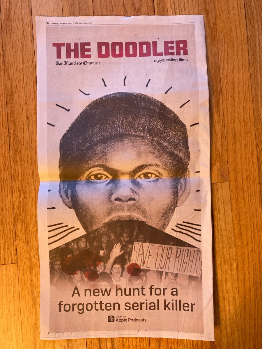 Full page ad for our upcoming true crime podcast 'The Doodler' in the @sfchronicle! @neonhummedia @SonyPodcasts @LeneBausagerUK @__Sophia #TheDoodler