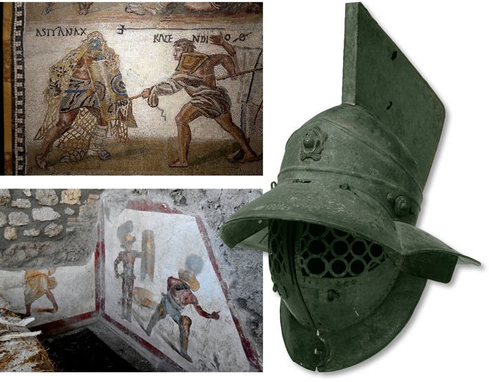 From the Archives: Ancient Roman frescoes depict the various classes of gladiators, each of which specialized in a particular fighting style and used different types of armor and weapons. A Traex (Thracian) wore the distinctive helmet shown here. archaeology.org/issues/378-200…