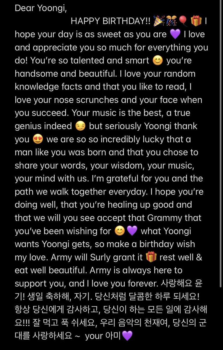 HAPPY BIRTHDAY YOONGI 💜💜💜 #HappyBirthdayYoongi #YoongiDay #8yearswithSUGA #YoongiOurHome #MINYOONGI #AgustD