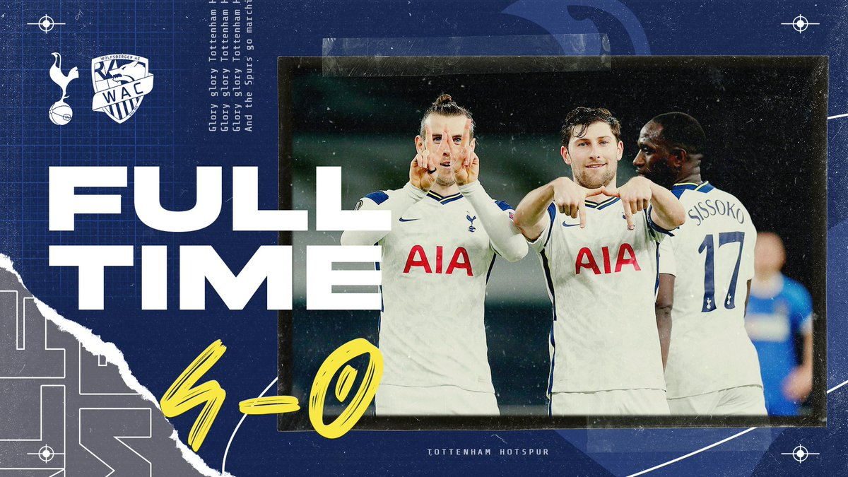 𝗙𝗨𝗟𝗟-𝗧𝗜𝗠𝗘 ⏱ We're through to the last 16 in the Europa League 👊  ⚪ #THFC 4-0 #WAC 🔵