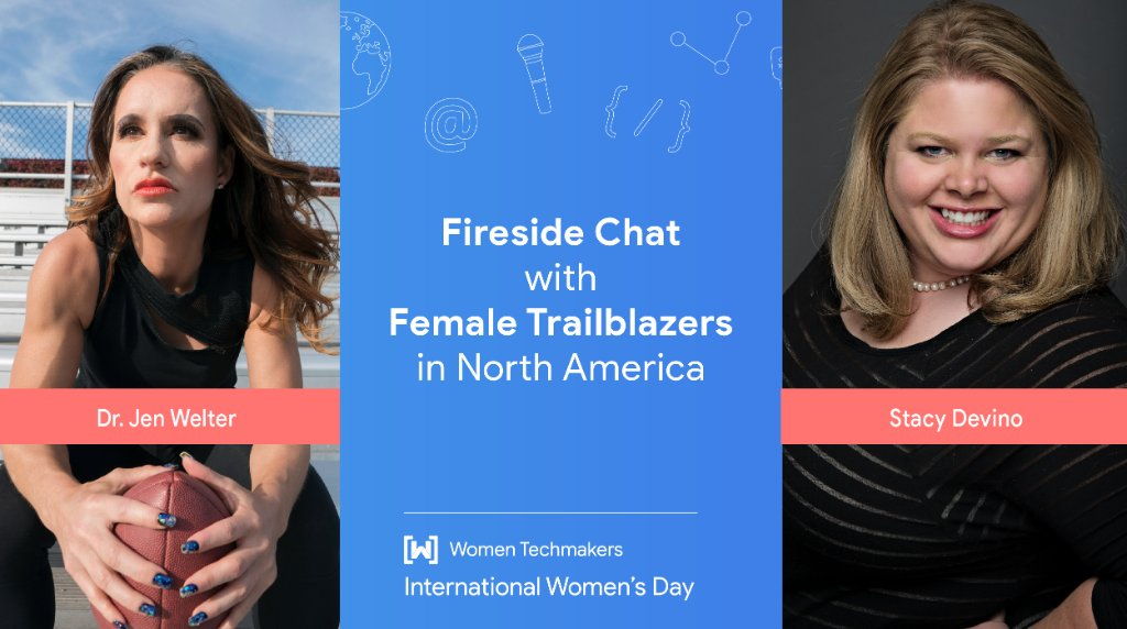 🏈 Huddle up for a Fireside Chat with the first female NFL coach at #IWD North America  Kick off your day on March 12 by learning about barrier-busting sharing from @jwelter47 and @DoesitPew!  📮 RSVP here →   #CouragetoCreate #WTM #GDG #GoogleDevelopers
