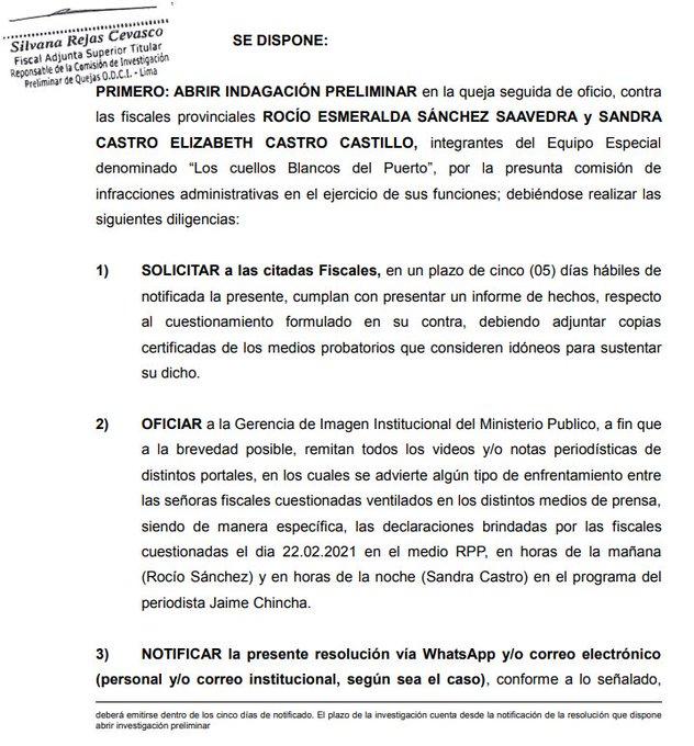 Ministerio Público abre indagación preliminar contra fiscales Rocío Sánchez y Sandra Castro