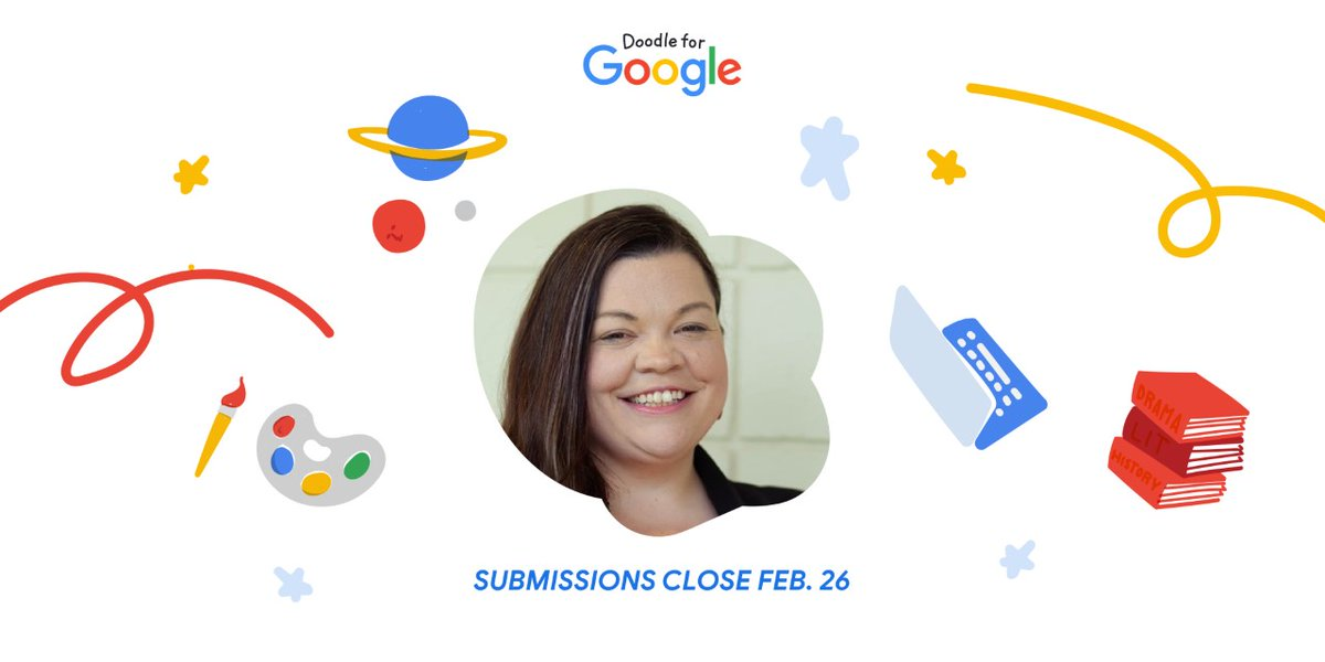 I'm judging this year's Doodle for Google contest! K-12 students are eligible to submit until this Friday, February 26th at 11:59 pm PT. Grab your pencils, paint and other materials and get started!  #DoodleforGoogle