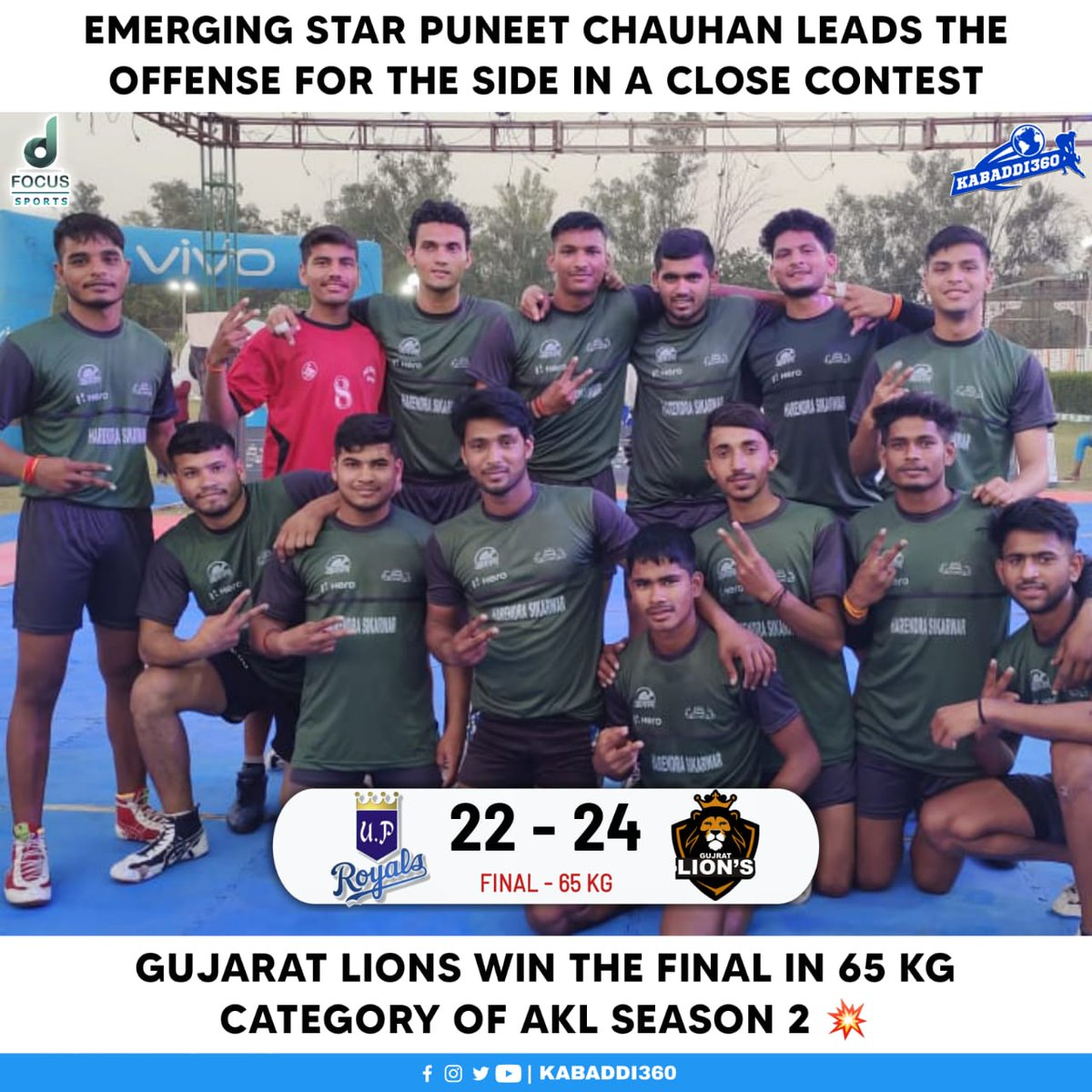 Congratulations to the winning team of 65 kg category - Gujarat Lions 🎉  #AgraKabaddiLeague #KabaddiResults #Kabaddi360