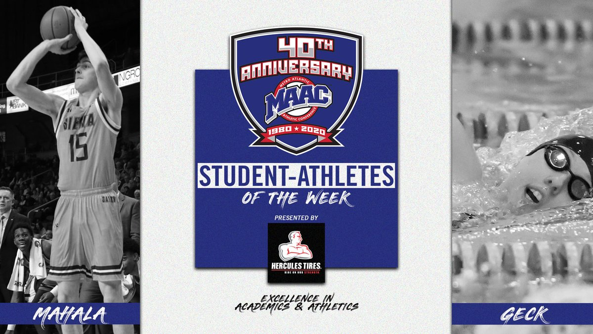 Latest additions to the @HerculesTires #MAACSports Student-Athlete of the Week club 😏 Robert Mahala - @SienaMBB x @SienaSaints Marie-Christine Geck - @PeacockSWIMDIVE x @SPUAthletics #MAAC40 #MAACHoops #MAACSwim #MarchOn #StrutUp 📰: bit.ly/3pUrLd7
