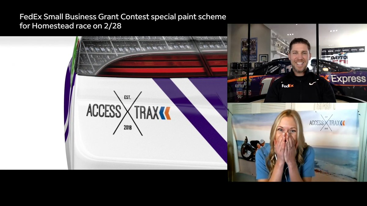 Last year's FedEx Small Business Grant Contest Winner, Kelly Twichel from @AccessTrax sat down with @DennyHamlin to talk racing, family, & the new small business paint scheme. Enter the FedEx Small Business Grant Contest at  now through March 9.