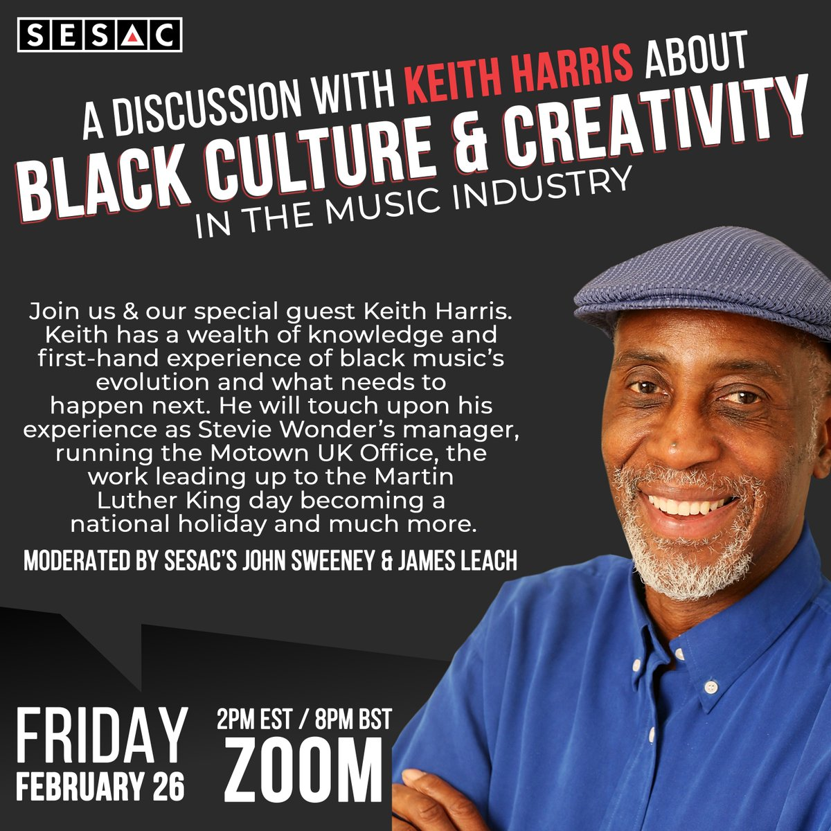 Join us this Friday for a conversation with Keith Harris. He will touch on his experience as #StevieWonder's manager, running the #Motown UK office, the work leading up to #MLKDay becoming a national holiday and more! ⁠ ⁠ Sign up now: